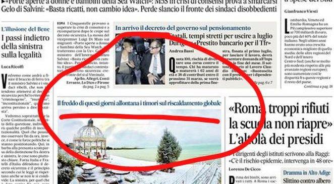 Italia al gelo e cambiamenti climatici, la topica del Messaggero