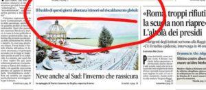 Articolo sul clima de Il Messaggero 5 gennaio 2019